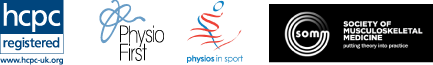 HPCP Registered, Physio First, Physios in Sport and Society of Musculoskeletal Medicine logos